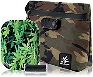 Smell Proof Bag with Lock | Full Active Carbon Lined Scent Proof Stash Bag Featuring Sealed Zipper Enclosure w Interior Accessory Pouches + Metal Rolling Tray + Rolling Machine (Camo)