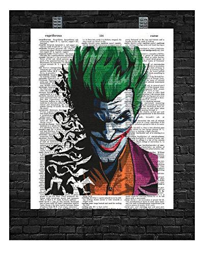 The Joker With Bats Wall Decor The Joker Portrait The Joker Super Villain Dictionary Art Print 8 x 10
