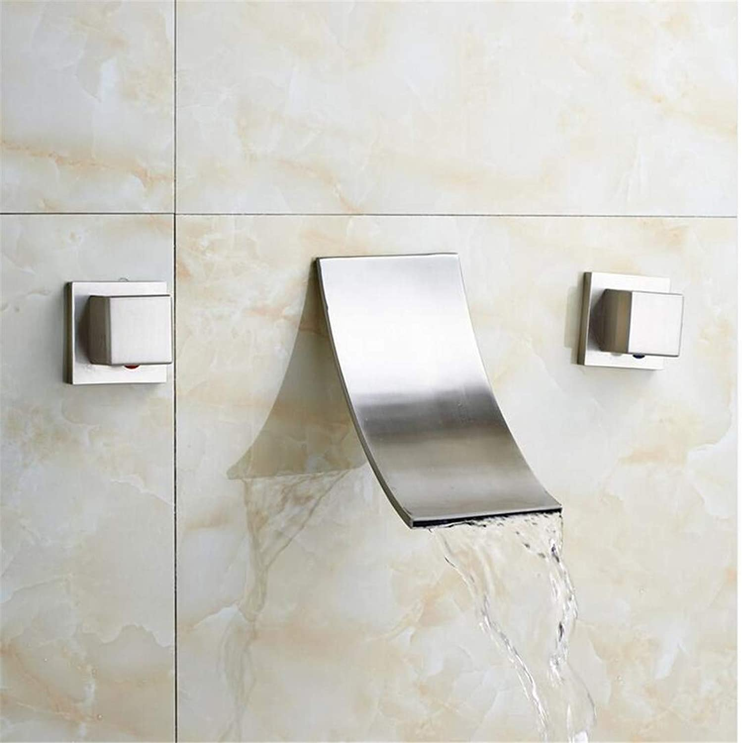 Bathroom Waterfall Spout Basin Faucet Two Handle in-Wall Brushed Nickel Mixer Taps