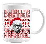 All I Want for Christmas is Harambe Ugly Sweater Design Coffee Mug Gift Coffee Mug 11OZ Coffee Mug