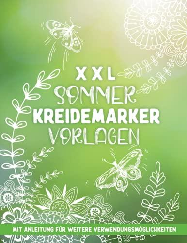 XXL Hello Summer Kreidemarker Vorlagen: wiederverwendbare, abwechslungsreiche Fensterbilder Vorlagen im XXL-A4 Format - Fenster bemalen mit dem abwischbaren Kreidestift!