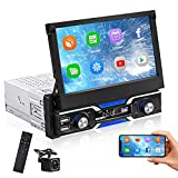 Android Single Din Bluetooth Car Stereo with Backup Camera 7inch Retractable Flip-Out Touchscreen Radio Support GPS WiFi Mirror Link SWC FM