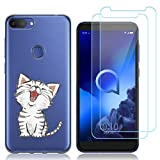 Reshias Custodia per Alcatel 1S 2019 Cover Silicone Trasparente Gel TPU (Chat) Morbido Antiurto Protettiva Shell Cover per Alcatel 1S 2019 con (2 Pack) Vetro temperato