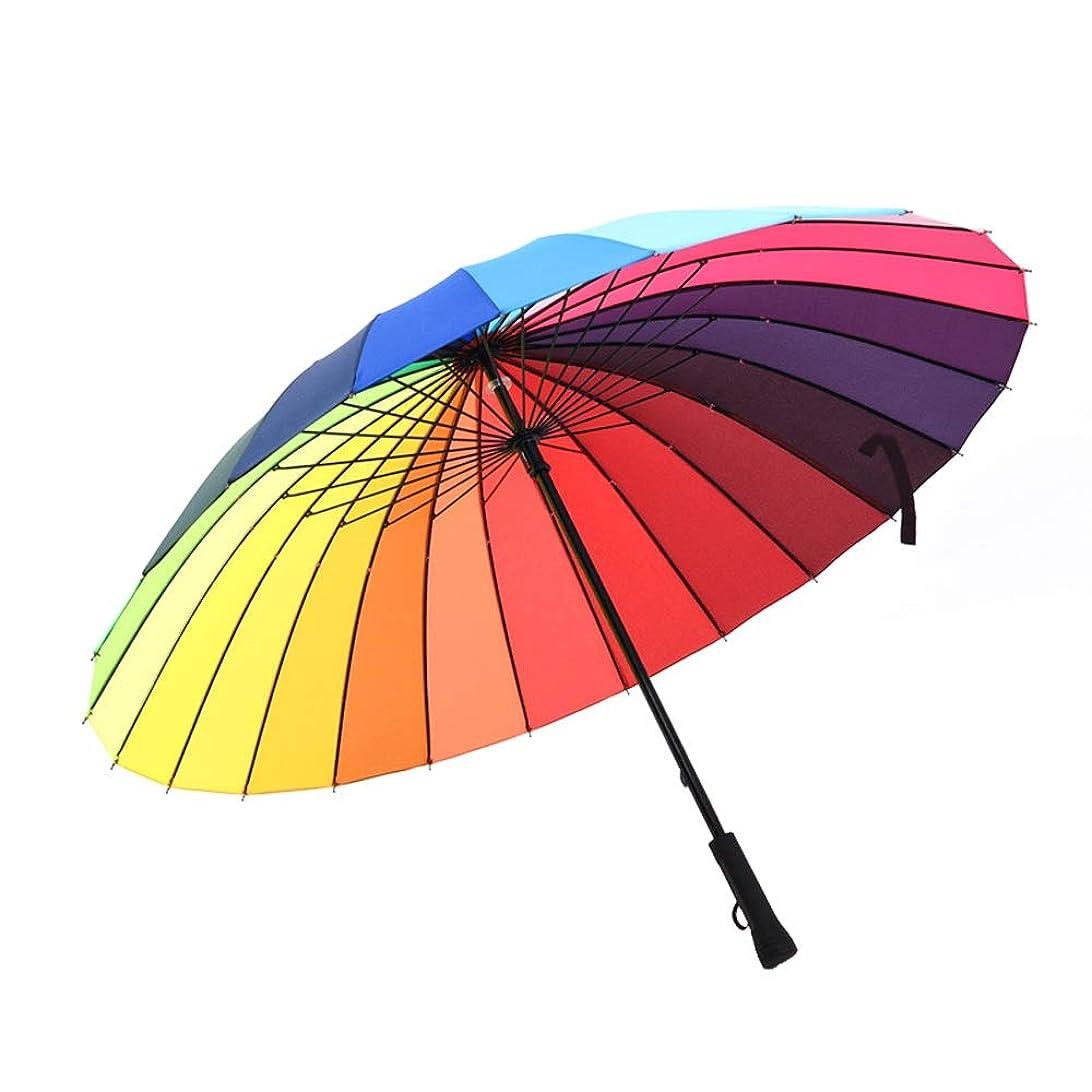 紀元前かどうか毎月BTXXYJP ゴルフ傘 レディース 長傘 24本骨 190T 大型 丈夫 強風 撥水 梅雨対策 虹 おしゃれ 傘