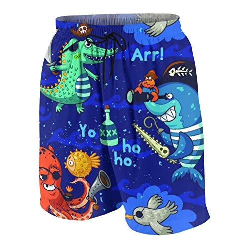 Haoerwu Herren Beiläufig Boardshorts,Unterwasserpiraten, Krokodil, Krake, Hai, KraBKKke,Schnelltrocknend Badehose Strandkleidung Sportbekleidung mit Mesh-Futter