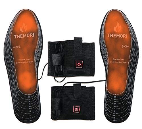 Plantillas calefactables con batería y regulación de temperatura de 3 niveles, tamaño: 35 – 48 (recortable).