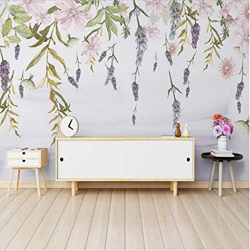 Pbbzl Wandschilderij, personaliseerbaar, met de hand beschilderd, modern, groen, bladeren, aquarel, bloemen, waterverf, woonkamer, slaapkamer, achtergrond, papier 250 x 175 cm.