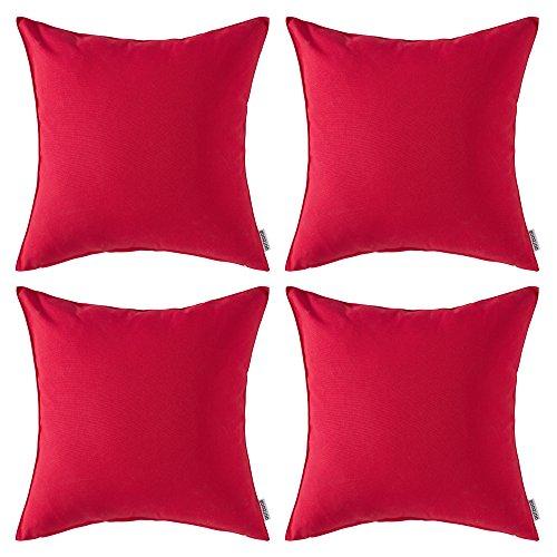 MIULEE Förpackning med 4 vattentäta prydnadskuddöverdrag hem kuddfodral dekorera kuddöverdrag skydd för tält park säng soffa stol sovrum dekorativa örngott 45 x 45 cm 45 x 45 cm röd