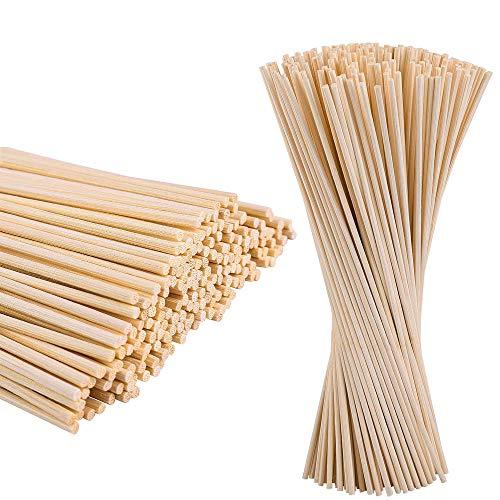 BOELLRUNO 400STK 20cm 3mm Bambus Rund Holzstäbchen Dübelstangen Holzstäbchen zum Basteln Diffusor Rattanstäbchen Aroma Stick Bambus Rundholz Bastelholz Bastelhölzer Naturholz Universal Bastelbedarf