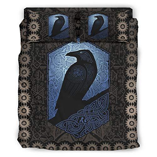 BTJC88 Juego de ropa de cama Viking Odin Ravens de 4 piezas, fundas de almohada y funda de edredón, suave microfibra, 228 x 264 cm, color blanco