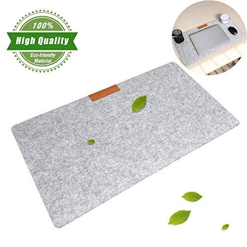 Schreibtischunterlage Filz, AAFGXSP Mousepad 640x330mm Schreibunterlage Deskpad Tisch Schreibtisch-Matte Zubehör - Hellgrau