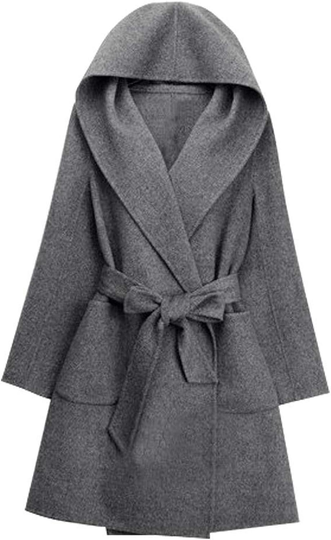 EVEDESIGN Women's Hooded Woolen Long Coat Elegant Open Front Cardigan Outwear with Belt