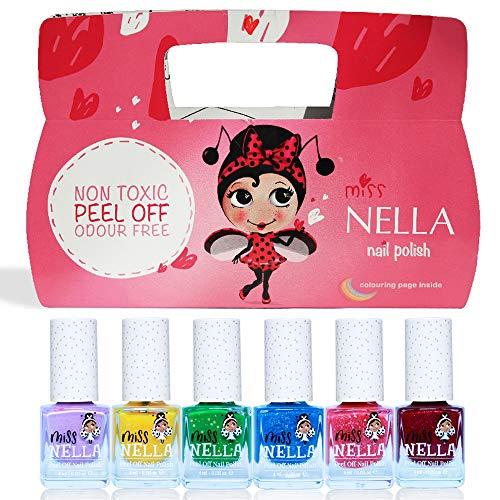 Miss Nella Weihnachtsglitter Special Glitzer - 6er Pack Kinder Nagellack mit Peel-off-Formel auf Wasserbasis Non-Toxic - Glitter Weinachtssets - Nagellack für Kinder