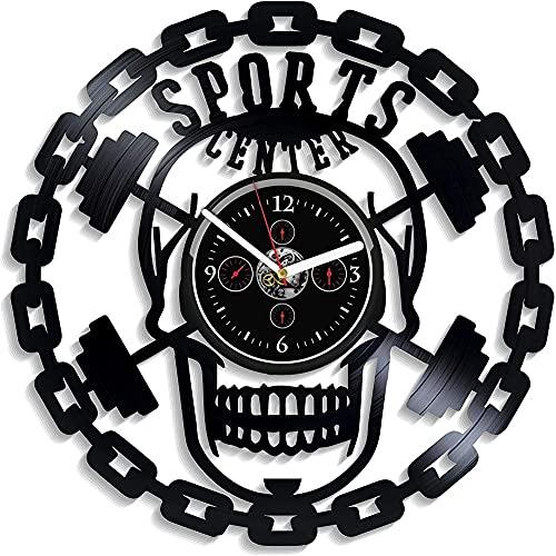 GVSPMOND Reloj de Pared con Disco de Vinilo, niños Adultos, Tema de diseño Deportivo, Reloj Moderno, Reloj de Pared silencioso de 12 Pulgadas, montado en la Pared