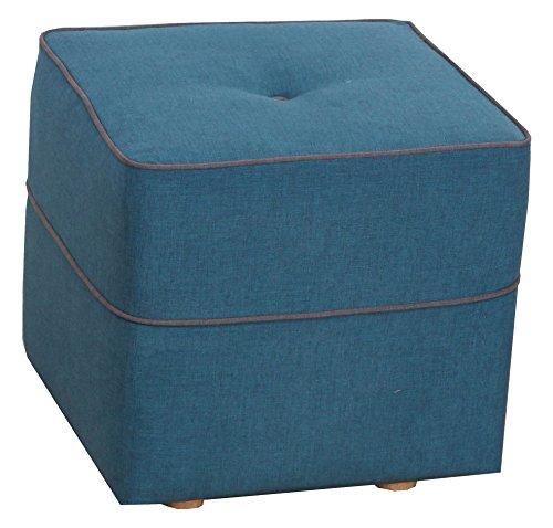 CANAPES TISSUS Retro Pouf Fixé, Polyester, Bleu, 42 x 42 x 40 cm