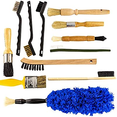 Pro-grade Auto Detailing Brush Kit 12 Pack. Ultra Value Set For Interior and Exterior Car Care. Clean Every Crevice with Gentle, Scratch-Free Natural Detailing Brushes and Heavy-Duty Wire Scrubbers