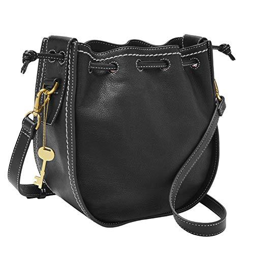 Fossil Women's Palmer Leather Drawstring Crossbody Handbag, Black Drawstring