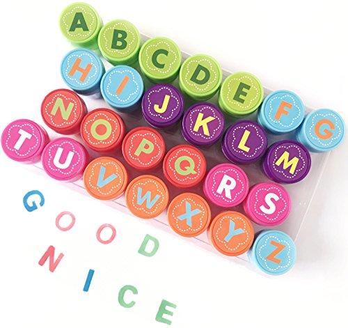 Alphabet Stempel Set für Kinder, Bestele 26 Stück Gummi-Tinte waschbar Stampers Seal für Kinder Party Favor, Schulpreise, Geburtstagsgeschenk, lernen Requisiten