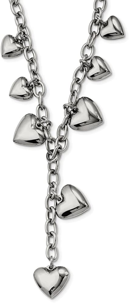 FB Jewels Solid Stainless Steel Polished Hearts 18In Y Necklace