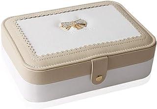 PHLPS Pequeña caja de joyería Viajes PU de cuero de la joyería caja del organizador del almacenaje de las pulseras del c...