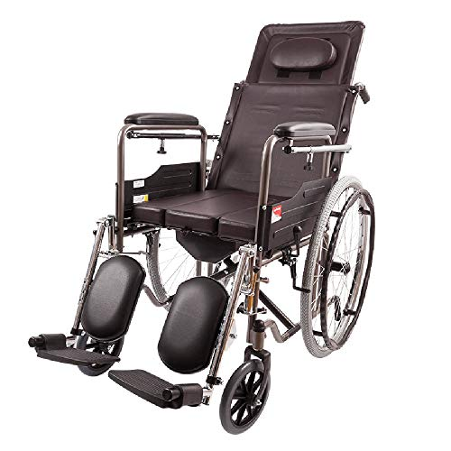 FENDOUBA Rollstuhl Ergonomischer Medizinischer Stützender Rollstuhl,Mit Abnehmbaren Tischlangen Armen und Anhebende Beinstütze , Wasserdichtes Leder, Tragkraft 100kg