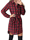 Style Dome Vestido Mujer Camisa Blusa a Cuadros Cinta Elegante Fiesta Mangas Largas Cóctel Noche Rojo XL