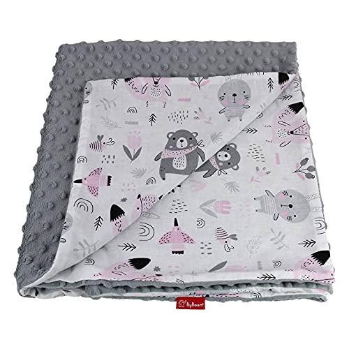 ByBoom Basics Babydecke 75x100 cm, OEKO-TEX, doppelseitige, flauschige Kuschel-Erstlingsdecke mit Baumwoll- und Minkyseite, Extra weich - Made in EU