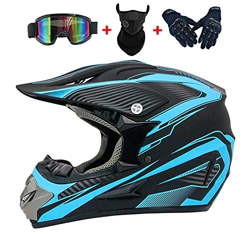 YXST Casco Moto,Casco De Esquí Certificado CE con Gafas/Guantes Forro Desmontable Especializado Resistente, Transpirable para Esquí, Patineta, Protector 52-59cm,6,L