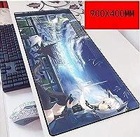 マウスパッド初音ミク900X400mmマウスパッド、スピードゲーミングマウスパッド、拡張XXL大型3mm厚ベース、ノートブック、PC E