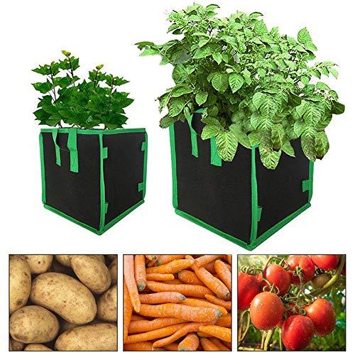 ZHANGY 3pcs 7/10 Gallone Square Garden Plant Grow Bag Filz DIY Kartoffel Gemüse Blumen Pflanzer Topf Pflanzer Umweltfreundliche wachsende Taschen,10 Gallon
