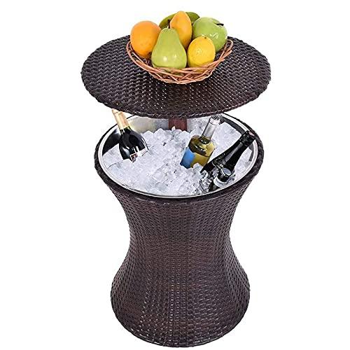 QWEAS 3-in-1 Allwetter-Bar-Tisch aus Korbgeflecht, Eiskübel und Cocktail-Couchtisch, alles in einem, Rattan-Stil, höhenverstellbar, für Terrasse, Party, Pool
