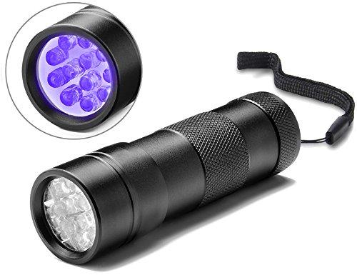 Act 12 LED Linterna Ultravioleta UV para detectar orina Billete falso Linterna Luz Ultravioleta Antorcha Detector de Billete falso con concha negra