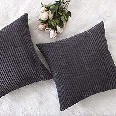 Home Brilliant Spring Decor Pillow Covers Soft Decorative Striped Corduroy Velvet Square Throw Pillow Sofa Cushion Covers Set for Couch, 2 Pack, 18x18 inch (45cm), Dark Grey