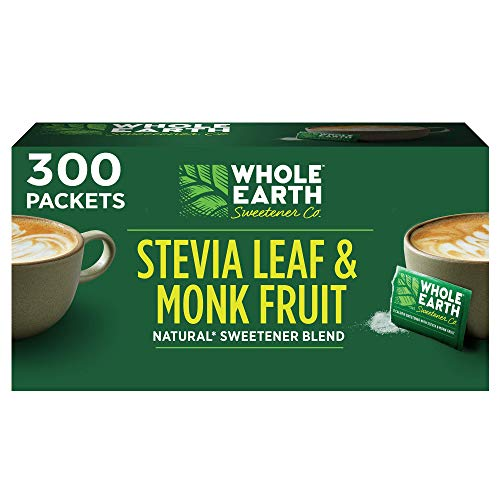 WHOLE EARTH Stevia & Monk Fruit Plant-based Sweetener, 300 Packets (Packaging May Vary)