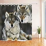 Nyngei Wildtier Wolf Paar Duschvorhang Badezimmer Dekor Stoff & 12 Haken Zoll 183X183CM