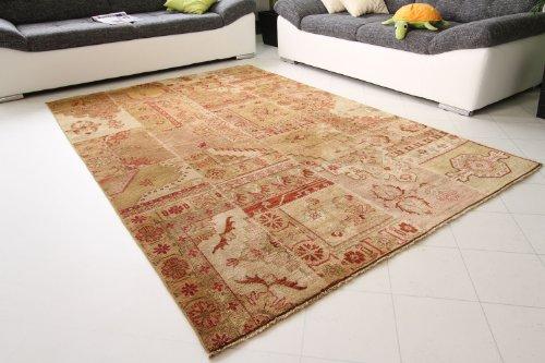 Orissa Orientteppich pink - handgeknüpft - Designer Patchwork Teppich