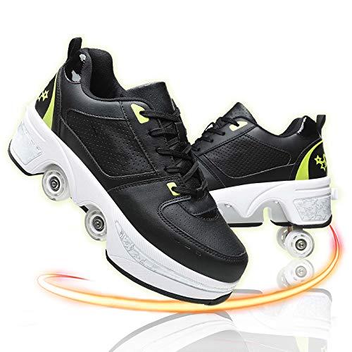 GGXINT Zapatos con Ruedas para Niños Y Niña Aire Libre Y Deporte Gimnasia Running Zapatillas Automática Calzado De Skateboarding,Black Green,40