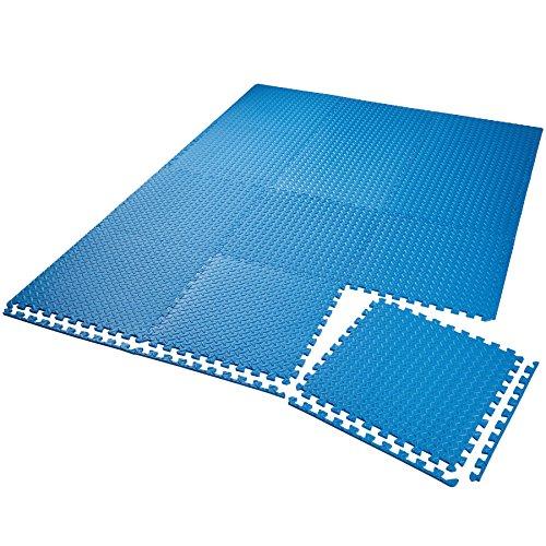 TecTake Schutzmattenset Bodenschutzmatte | rutschfest, schmutzabweisend | erweiterbares Stecksystem | Diverse Modelle (12x blau | Nr. 402654)