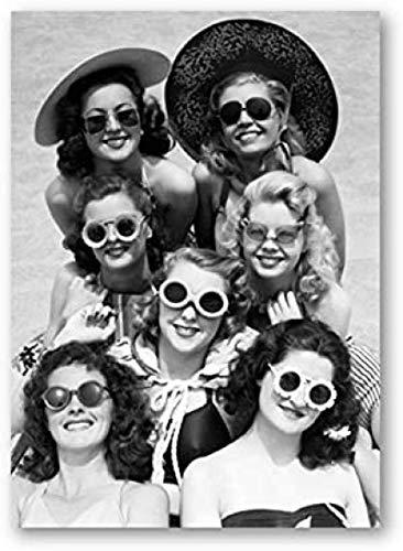 Rzhss Beauitful Mujeres Foto Lienzo Pintura Cartel Vintage Amigos Playa Gafas De Sol Impresión Lienzo Basura Diario Pared Arte Decoración 50X70Cm Sin Marco