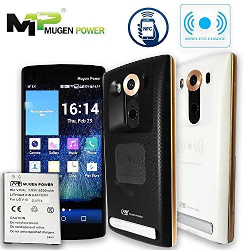 Mugen Power - LG V10 6200mAh bateria extendida con cubierta (Soportado con NFC y funcion de carga inalambrica) (Mugen Energia LG V10 Carga Inalambrica NFC Android Paga 6200mAh Bateria Ampliada (BL-45B1F) Antideslizante mejor mano agarre contraportada (negro)