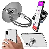 Aduro Phone Ring Holder [3-in-1] - Phone Ring, Phone Stand, Phone Car Vent Mount, Finger Grip Phone Holder for All iPhone, Samsung Galaxy (Silver)