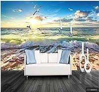 カスタマイズされたシンプルな雰囲気のリビングルームの寝室のビーチの壁紙波の風景カスタム背景壁画3d防水壁布水3d壁紙-250x175cm