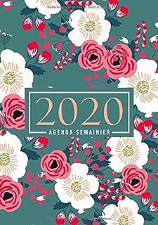 Agenda semainier 2020: Du 1er janvier 2020 au 31 décembre 2020 : aperçu hebdomadaire et mensuel, journal, planificateur & organiseur : Fleurs roses et blanches sur vert 023-7 (French Edition)