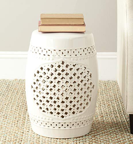 Safavieh Moroccan Quatrefoil Ceramic Decorative Garden Stool, Cream