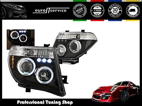 V-MAXZONE LIGHTS Jeu de lampes LPNI06 de phare avant Angel Eyes noirs, pour Nissan Navara D40/Pathfinder 2005–2010