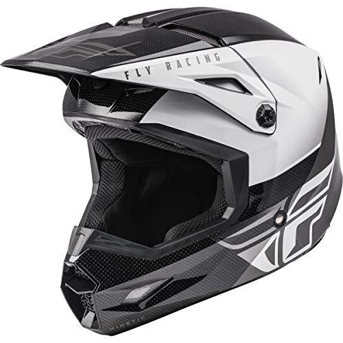 FLY Racing Kinetic Straight Edge Helmet, Full-Face Helmet for Motocross, Off-road, ATV, UTV, Bicycle and More BLACK/WHITE, XL