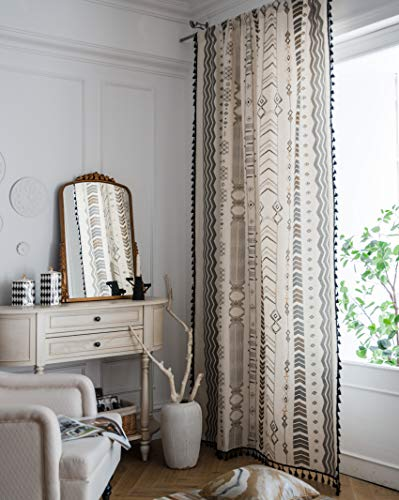 Hughapy Boho Curtains for Bedroom Bohemian Geometric Tassel Curtains Rod Pocket Cotton Linen Farmhouse Country Style Room Darkening Curtain Panel for Living Room, 1 Panel (59W x 63L, Arrow)