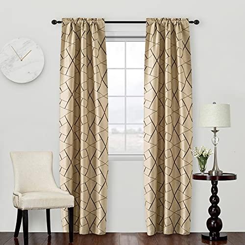 Par de cortinas beige oscurecedoras con estampado geométrico marrón, cortina aislante para salón, dormitorio, oficina, balcón, puerta y ventana, 2 paneles con bolsillo (beige y marrón, 70 x 240 cm)