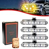 XTAUTO Car 16 LED Amber Police Strobe Flash Light Dash Emergency Warning Lamp 12V