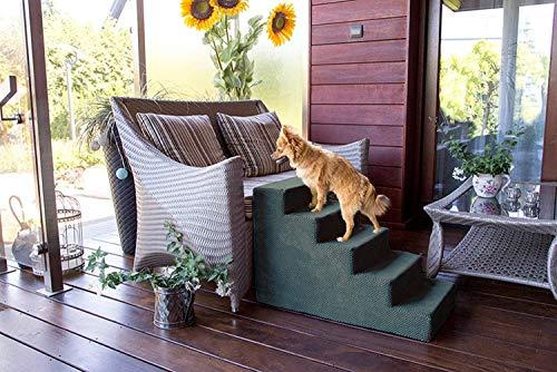 BoutiqueZOO Hundetreppe 50 cm hoch | Katzentreppe Haustiertreppe | 5 Stufen | Hunde Katzen Haustier | für Bett und Auto | Trepp für kleine Hund | Plüschbezug | Farbe: Dunkel Grau